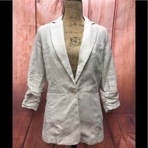 Michael Kors linen size 2 scrunched sleeves blazer